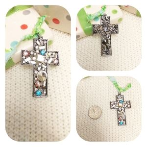 Upcycled Rhinestone Cross Pendant